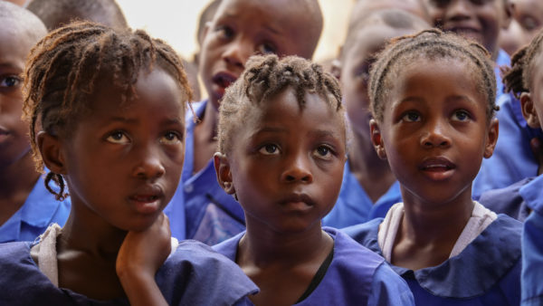 African Schoolgirls Rapt in Attention